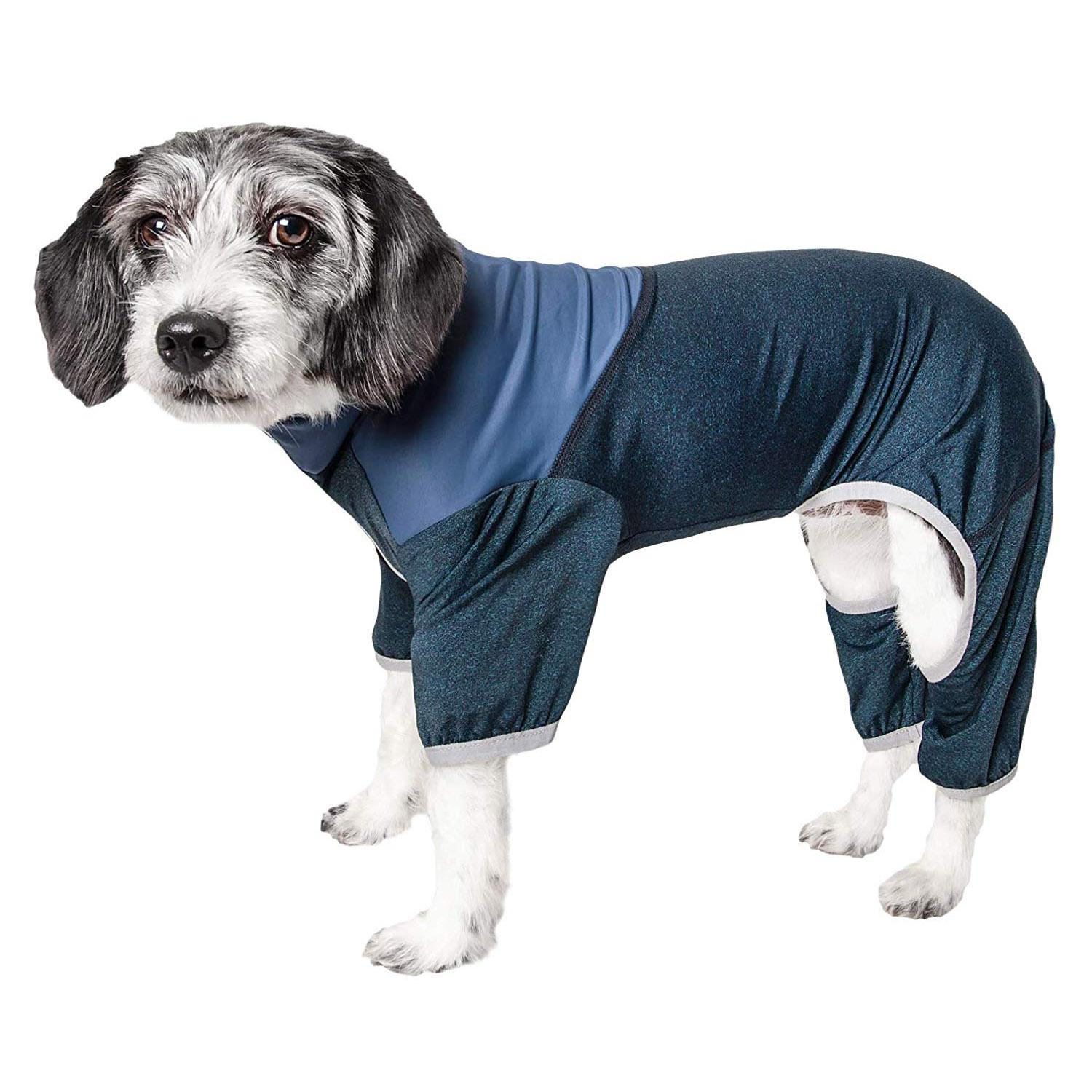 Pet Life ACTIVE 'Embarker' Performance Full-Body Dog Warm Up Suit - Teal and Blue