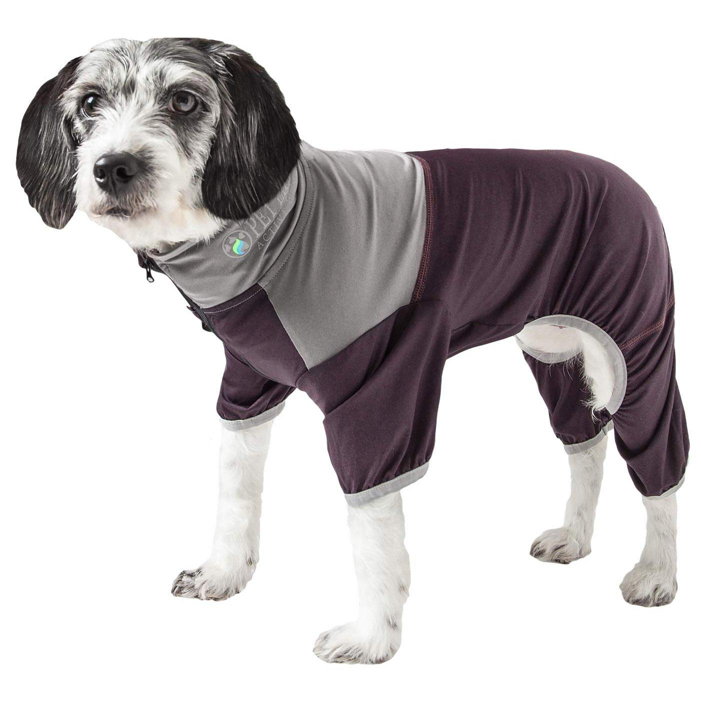 Pet Life ACTIVE 'Embarker' Performance Full-Body Dog Warm Up Suit - Raisin and Grey