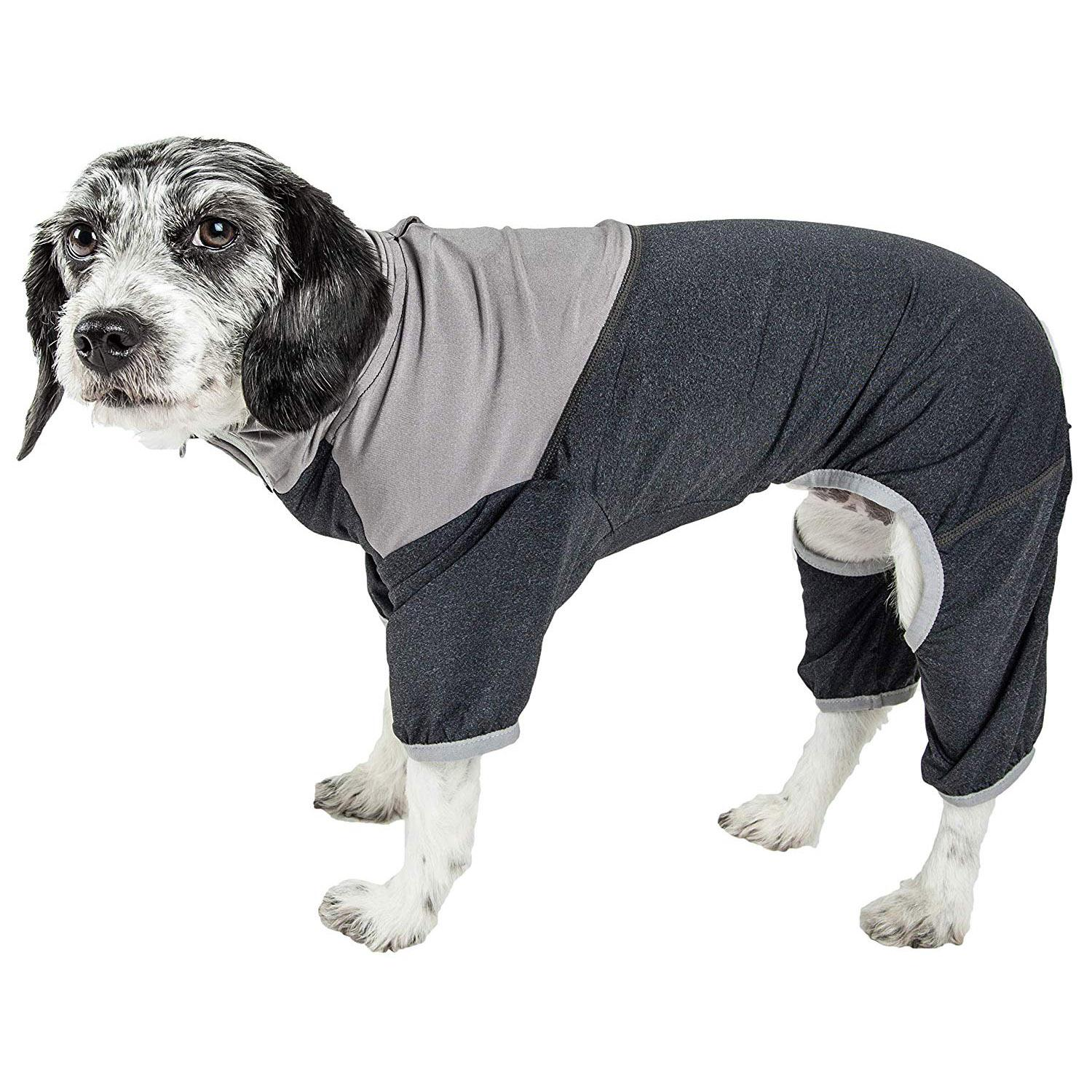 Pet Life ACTIVE 'Embarker' Performance Full-Body Dog Warm Up Suit - Charcoal and Grey