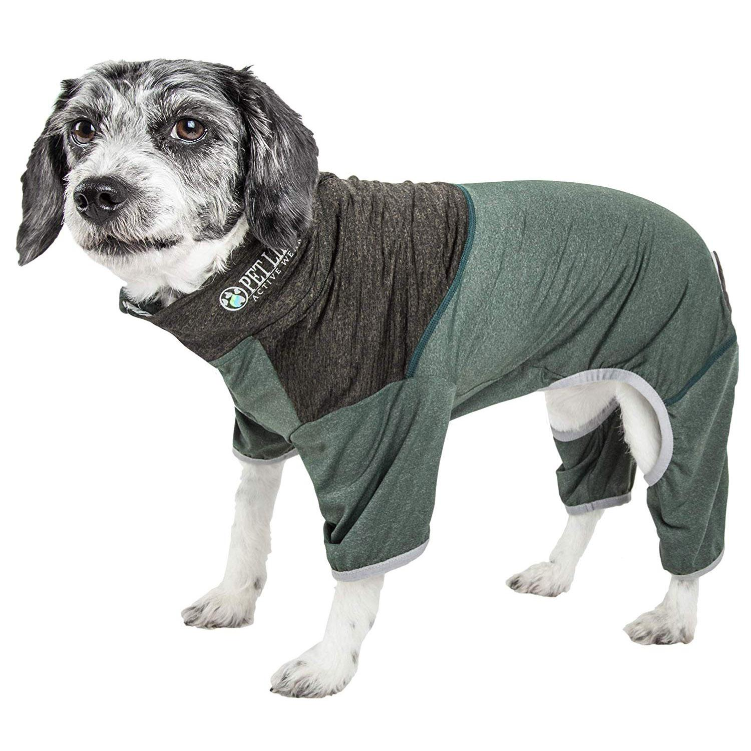 Pet Life ACTIVE 'Embarker' Performance Full-Body Dog Warm Up Suit - Hunter Green