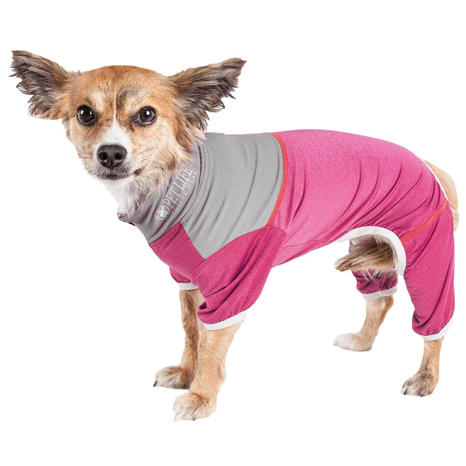 Pet Life ACTIVE 'Embarker' Performance Full-Body Dog Warm Up Suit - Pink and Gray