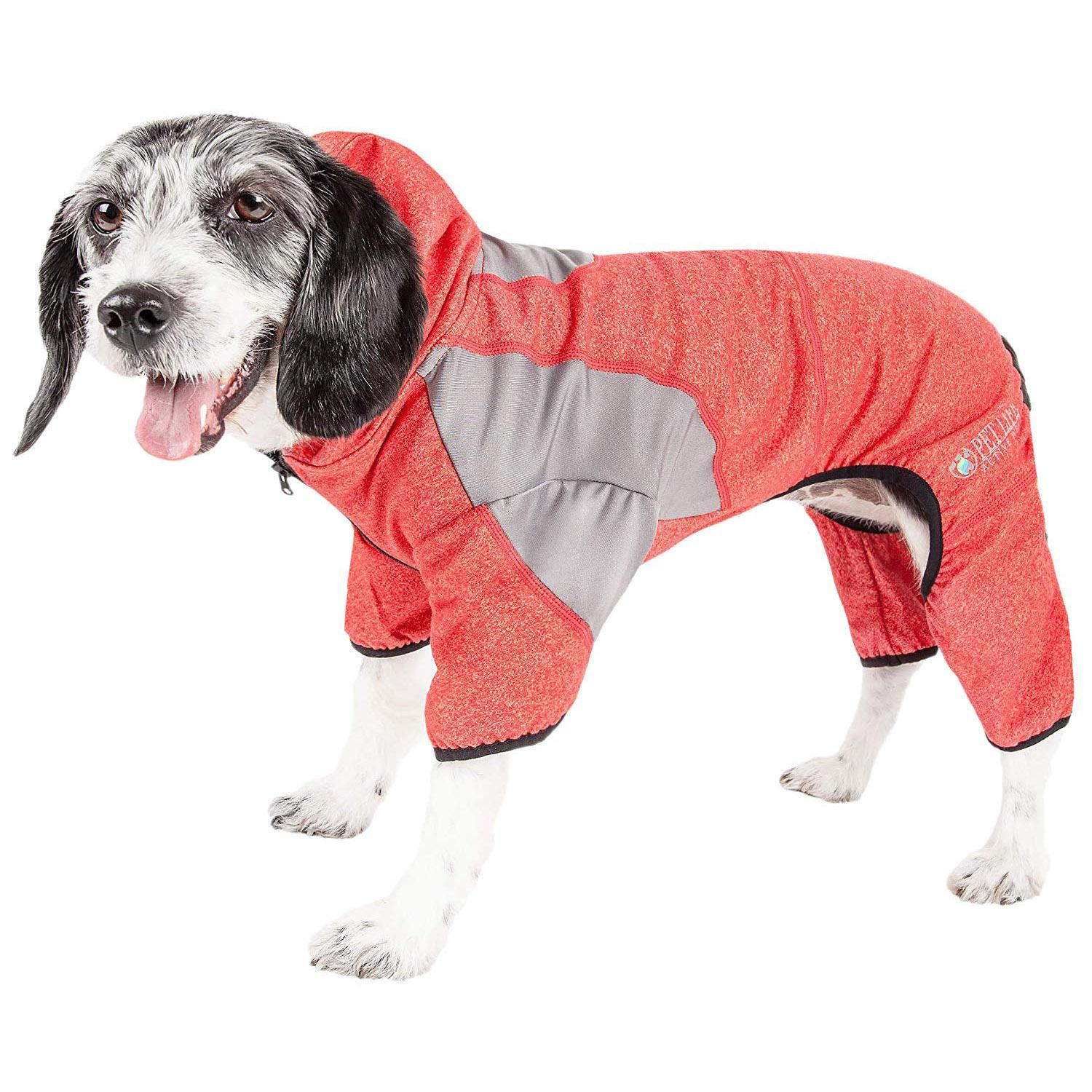 Pet Life ACTIVE 'Fur-Breeze' Performance Full Body Warm-Up Dog Hoodie - Red and Gray