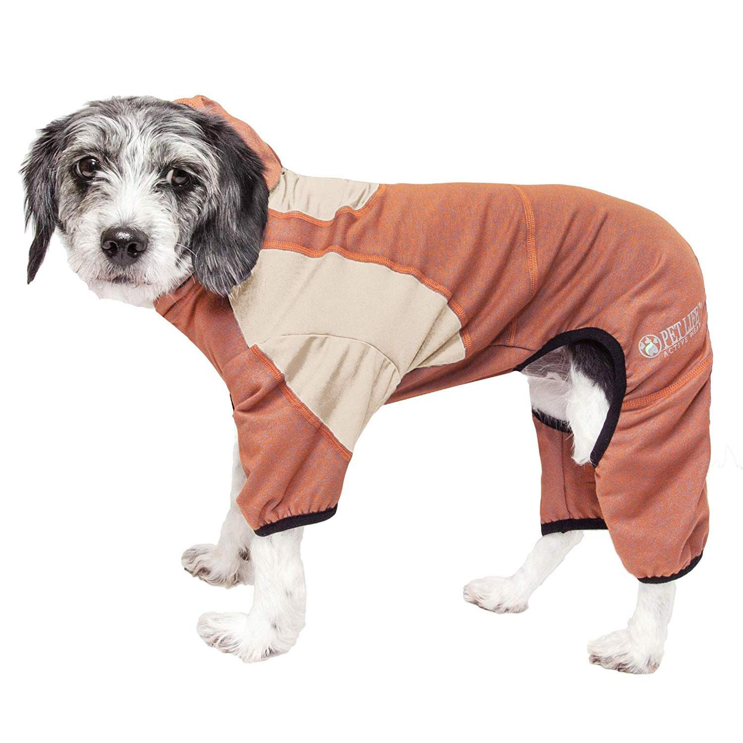 Pet Life ACTIVE 'Fur-Breeze' Performance Full Body Warm-Up Dog Hoodie - Teracotta and Tan