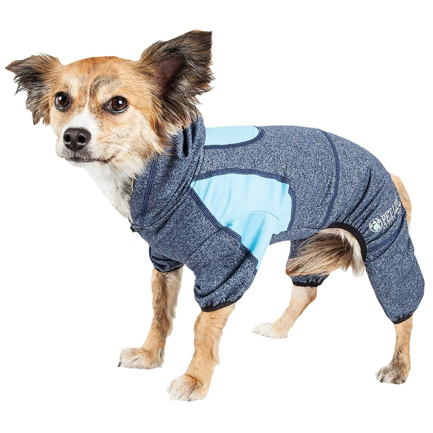 Pet Life ACTIVE Fur-Breeze Performance Full Body Warm-Up Dog Hoodie - Navy and Blue