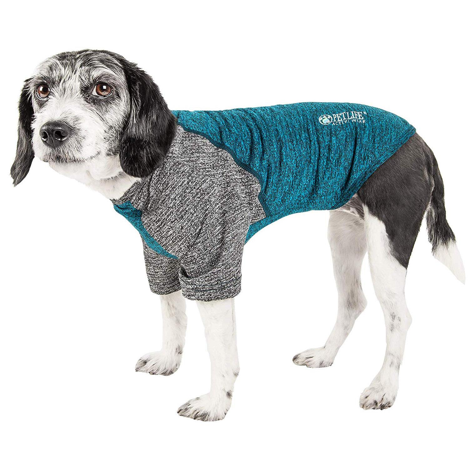 Pet Life ACTIVE 'Hybreed' Two-Toned Performance Dog T-Shirt - Teal and Gray