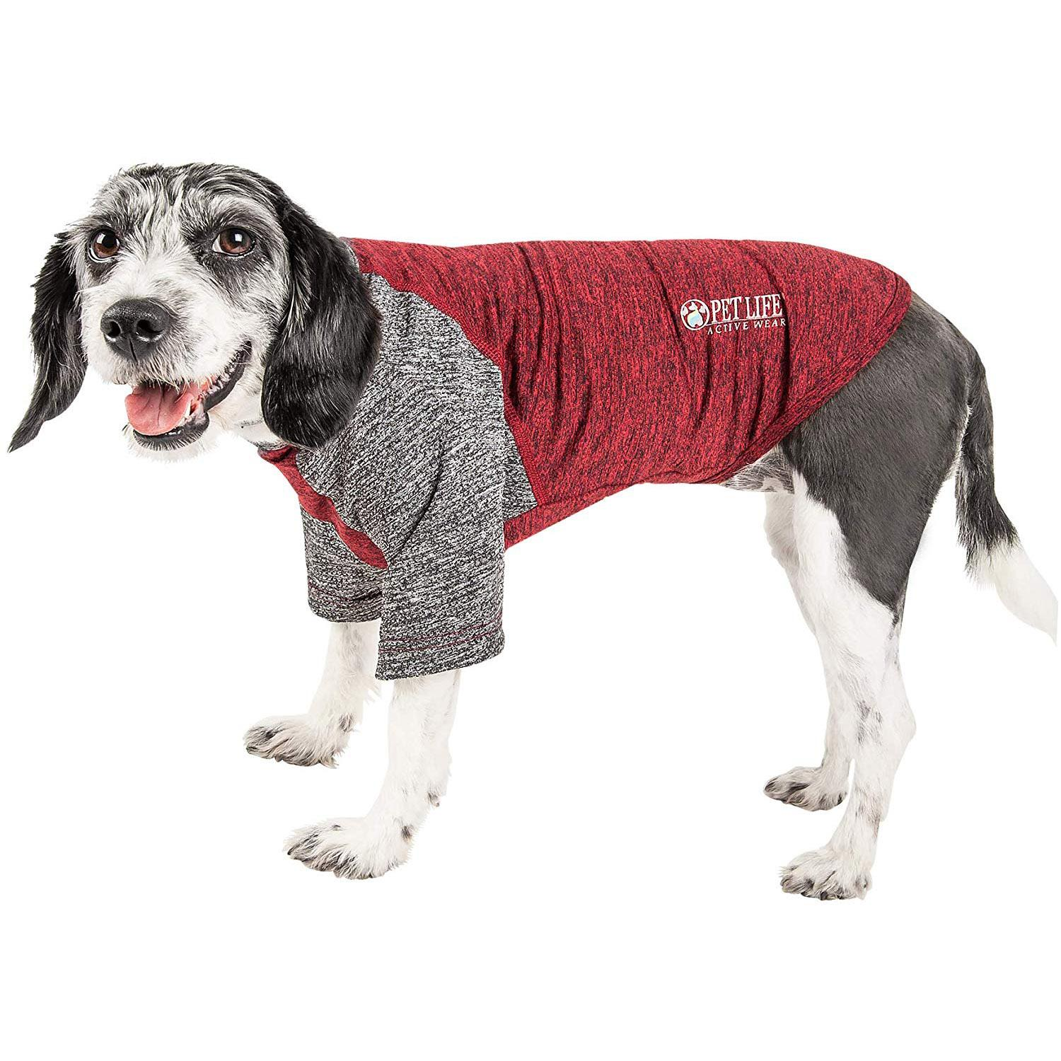 Pet Life ACTIVE 'Hybreed' Two-Toned Performance Dog T-Shirt - Maroon and Gray