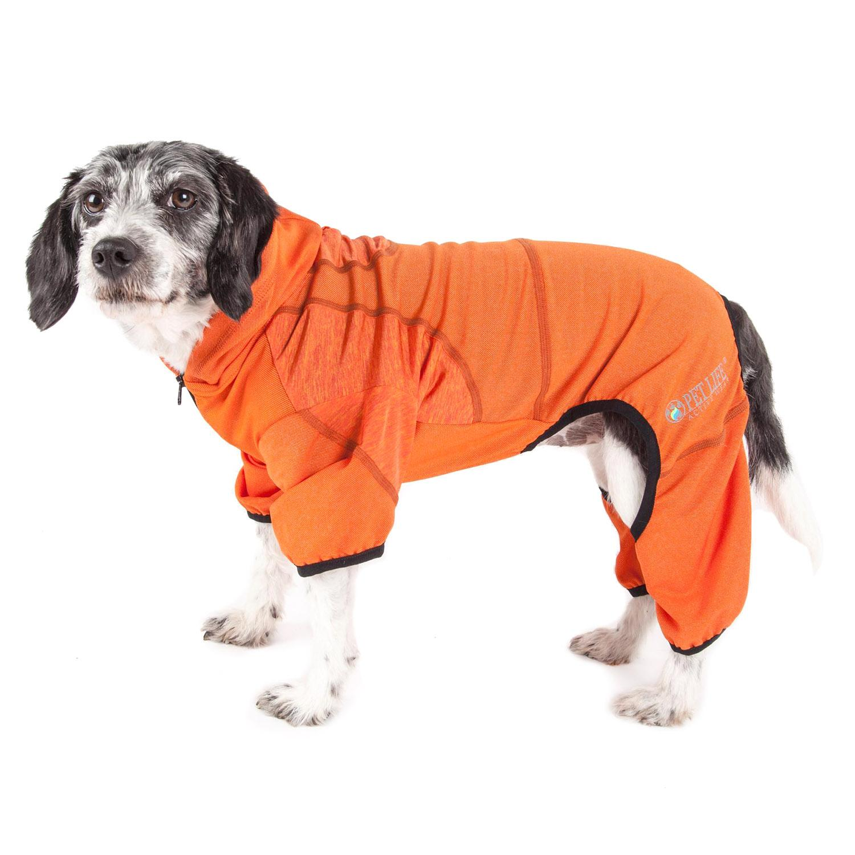 Pet Life ACTIVE 'Pawsterity' Peformance Dog Hoodie Jumpsuit - Orange