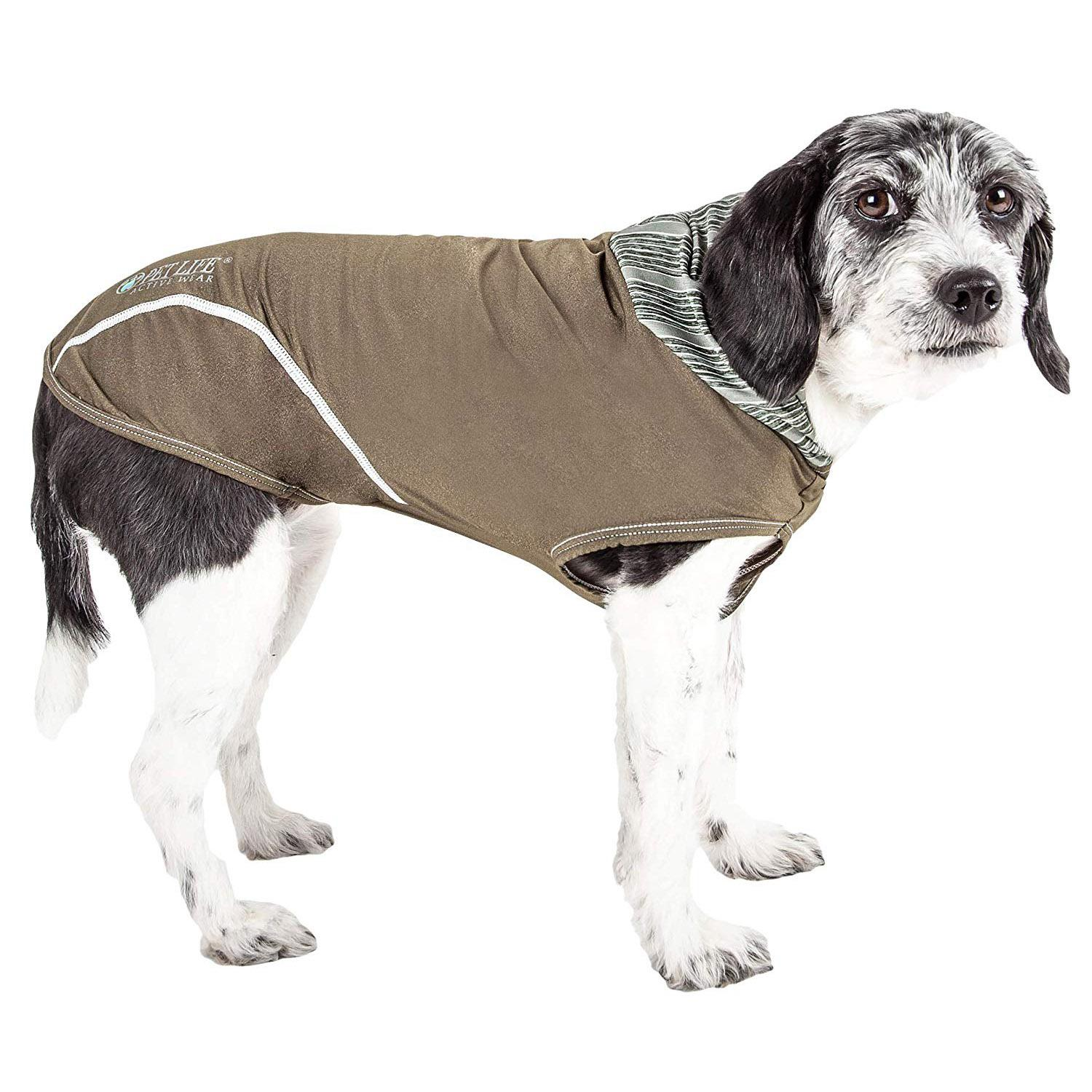 Pet Life ACTIVE 'Pull-Rover' Performance Sleeveless Dog Hoodie - Olive Green