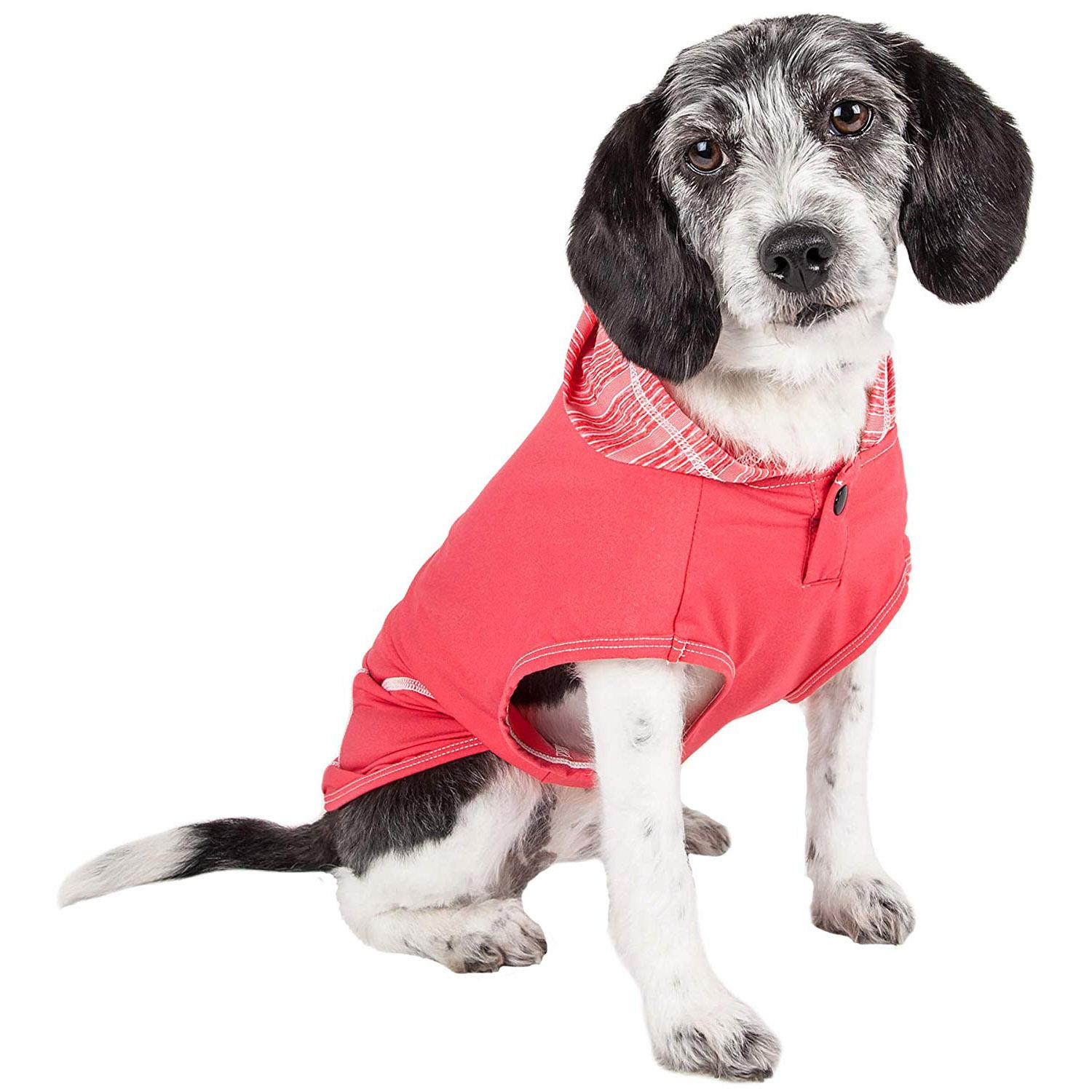 Pet Life ACTIVE 'Pull-Rover' Performance Sleeveless Dog Hoodie - Coral Red