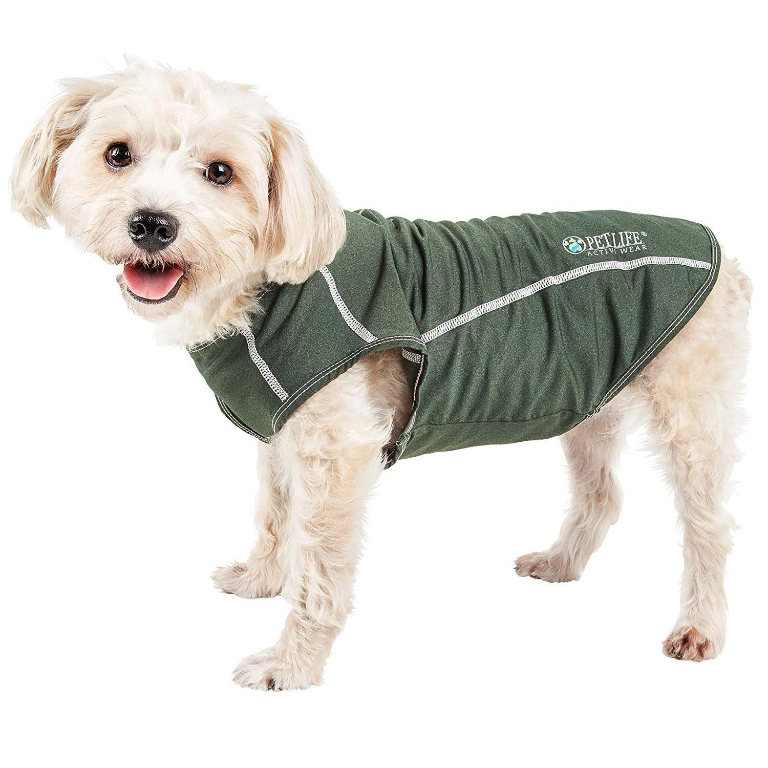 Pet Life ACTIVE 'Racerbark' Performance Dog Tank - Olive Green