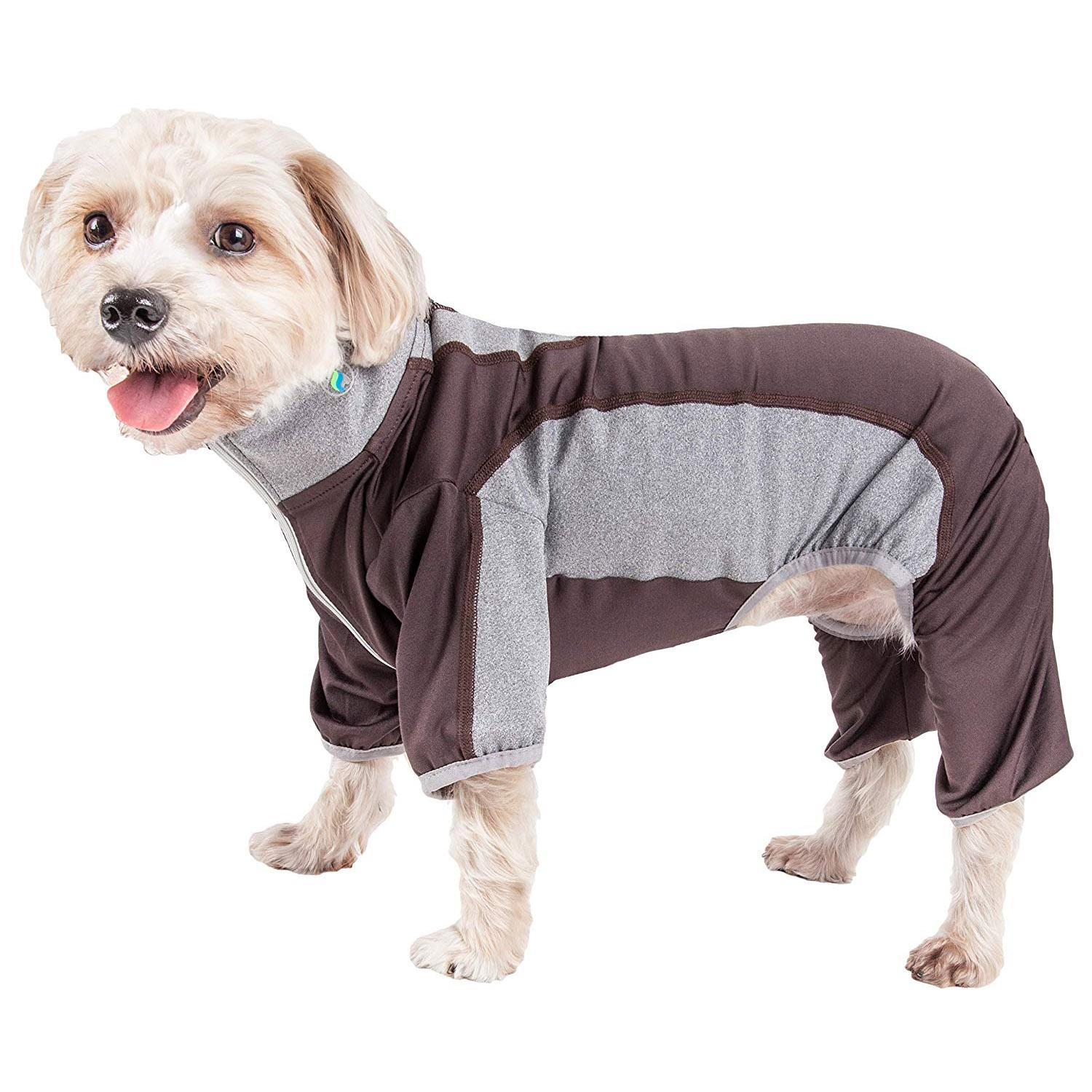 Pet Life ACTIVE 'Warm-Pup' Performance Jumpsuit - Brown and Gray