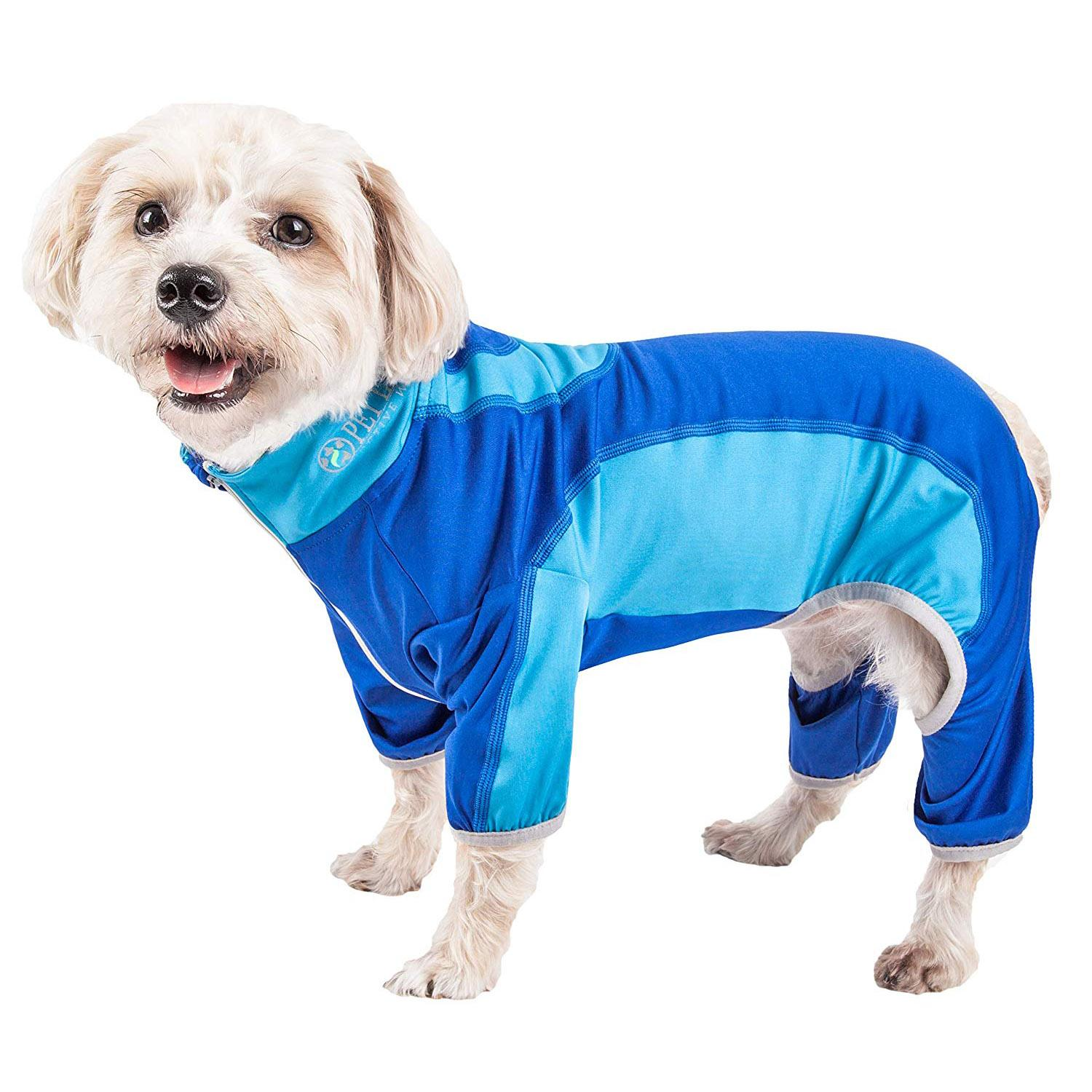 Pet Life ACTIVE 'Warm-Pup' Performance Jumpsuit - Dark Blue and Light Blue
