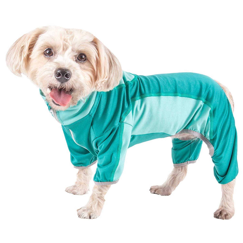 Pet Life ACTIVE 'Warm-Pup' Performance Jumpsuit - Green and Aqua