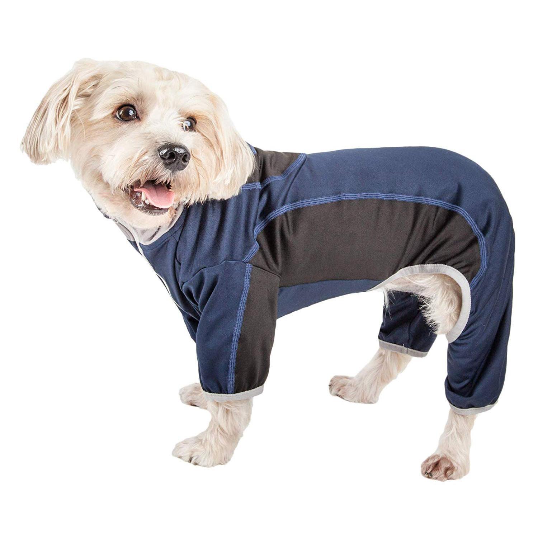 Pet Life ACTIVE 'Warm-Pup' Performance Jumpsuit - Navy and Black
