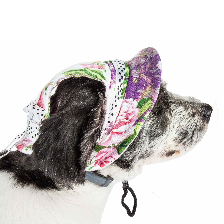 Pet Life 'Botanic Bark' UV Protectant Canopy Brimmed Dog Hat Cap - Floral