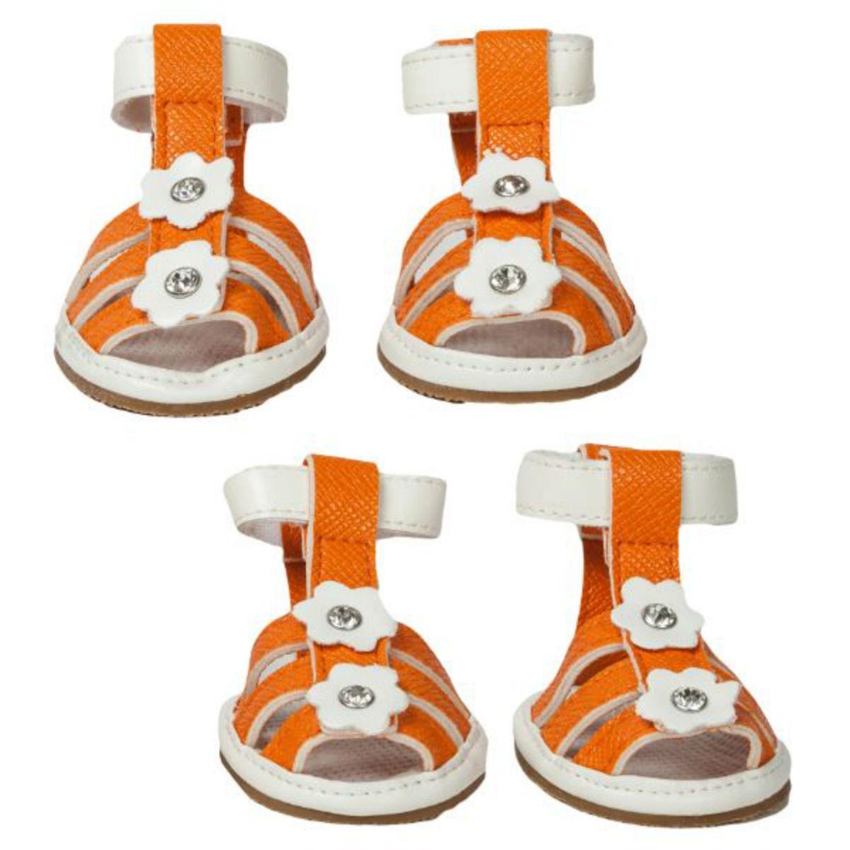 Pet Life Buckle-Supportive Pvc Waterproof Dog Sandals Shoes - Set Of 4 - Orange Floral