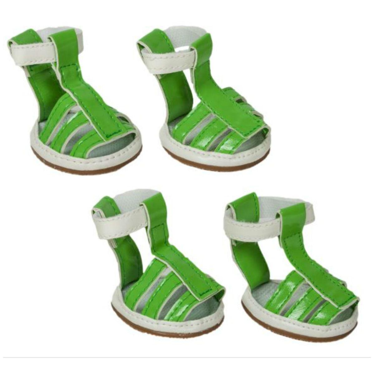 Pet Life Buckle-Supportive PVC Waterproof Dog Sandals Shoes - Neon Green