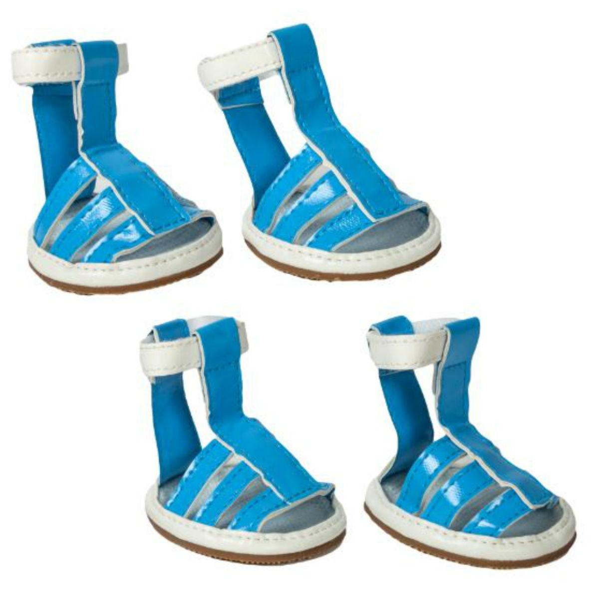 Pet Life Buckle-Supportive PVC Waterproof Dog Sandals Shoes - Ocean Blue
