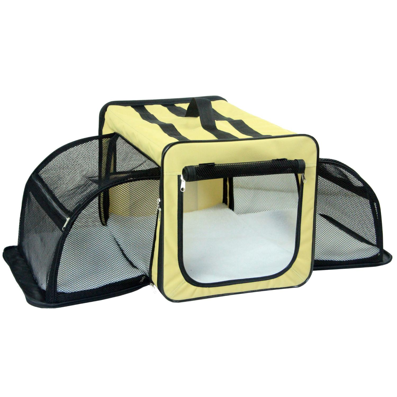 Pet Life Capacious Dual-Sided Expandable Dog Carrier - Khaki