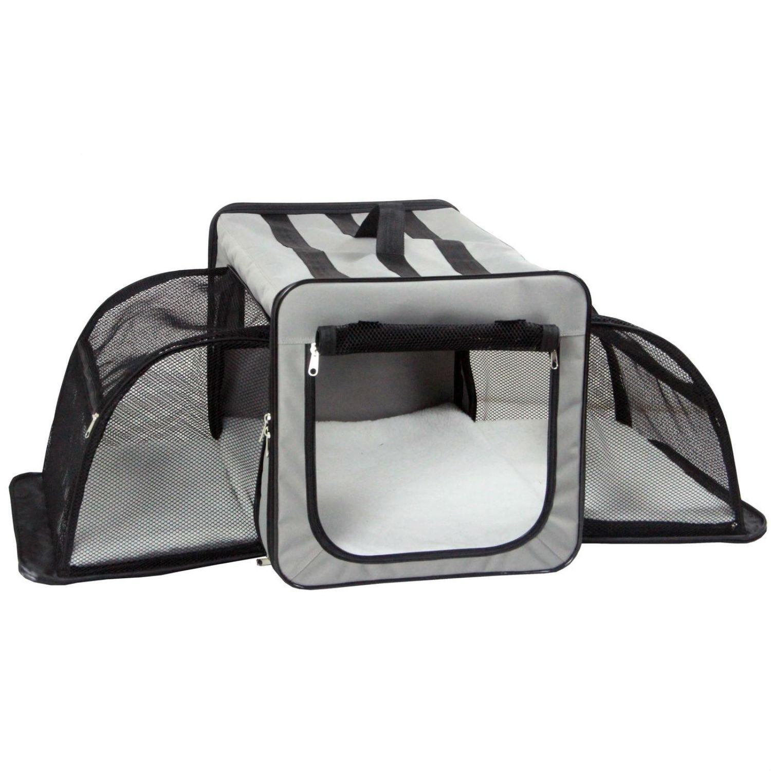 Pet Life Capacious Dual-Sided Expandable Dog Carrier - Gray