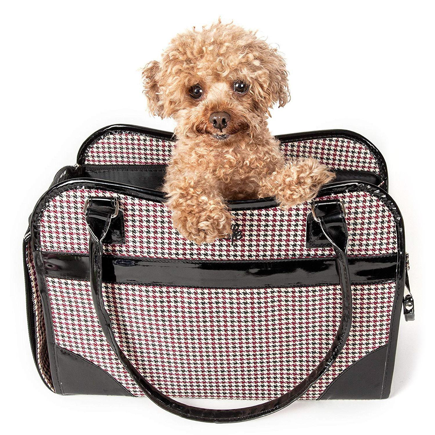 Pet Life 'Exquisite' Airline-Approved Designer Travel Dog Carrier - Houndstooth Multi