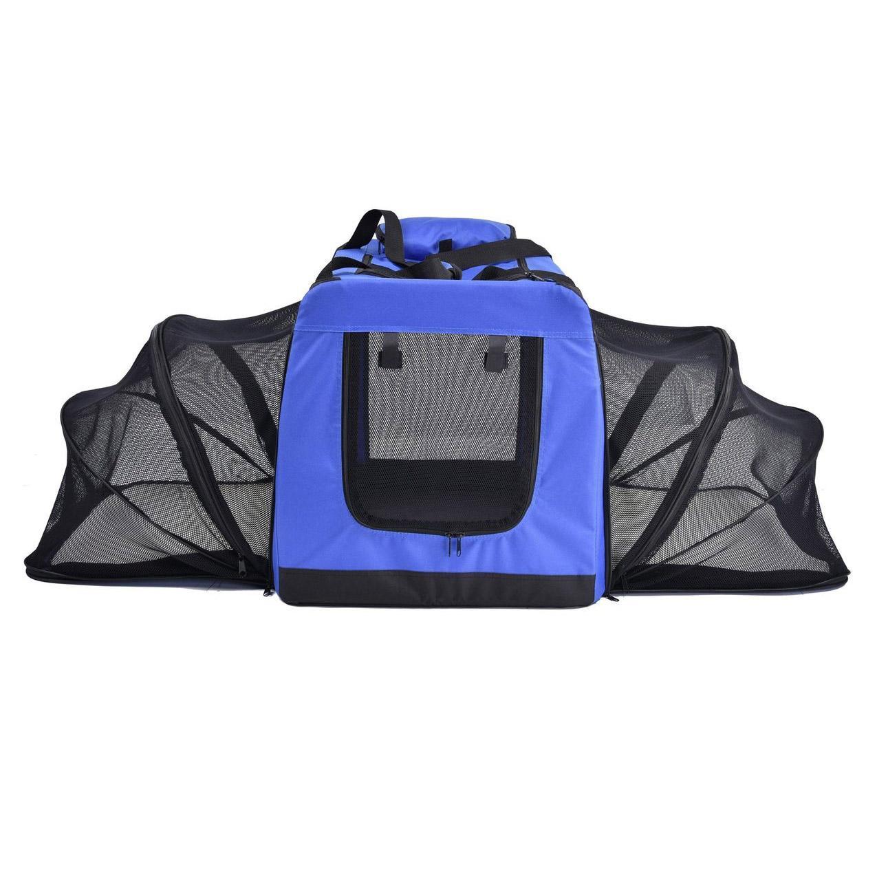 Pet Life Hounda Accordion Metal Frame Soft Folding Expandable Dog Crate - Blue