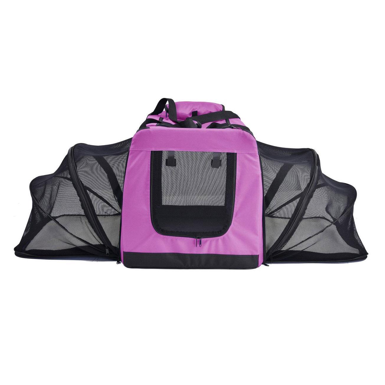 Pet Life Hounda Accordion Metal Frame Soft Folding Expandable Dog Crate - Pink