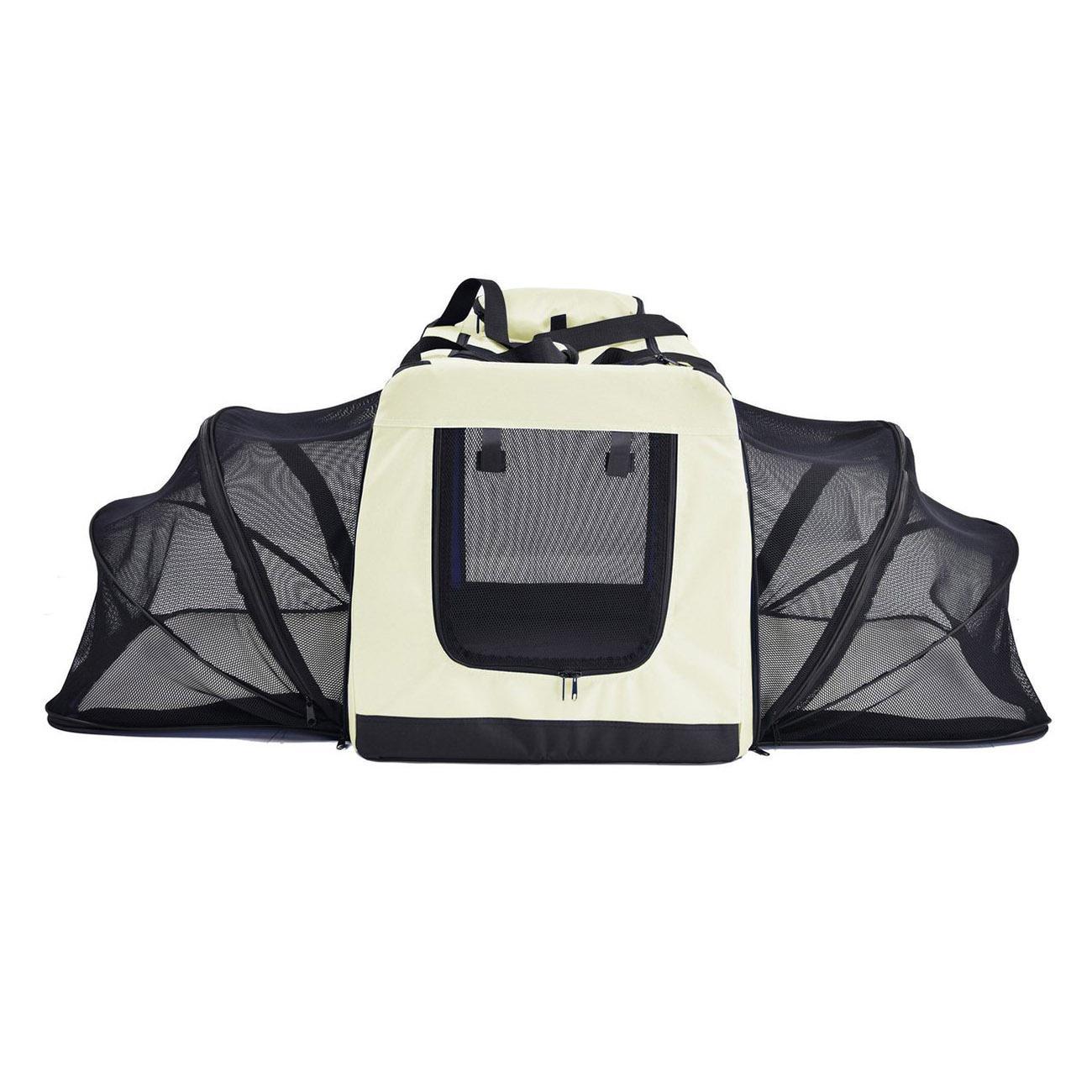 Pet Life 'Hounda Accordion' Metal Frame Soft Folding Expandable Dog Crate - Khaki