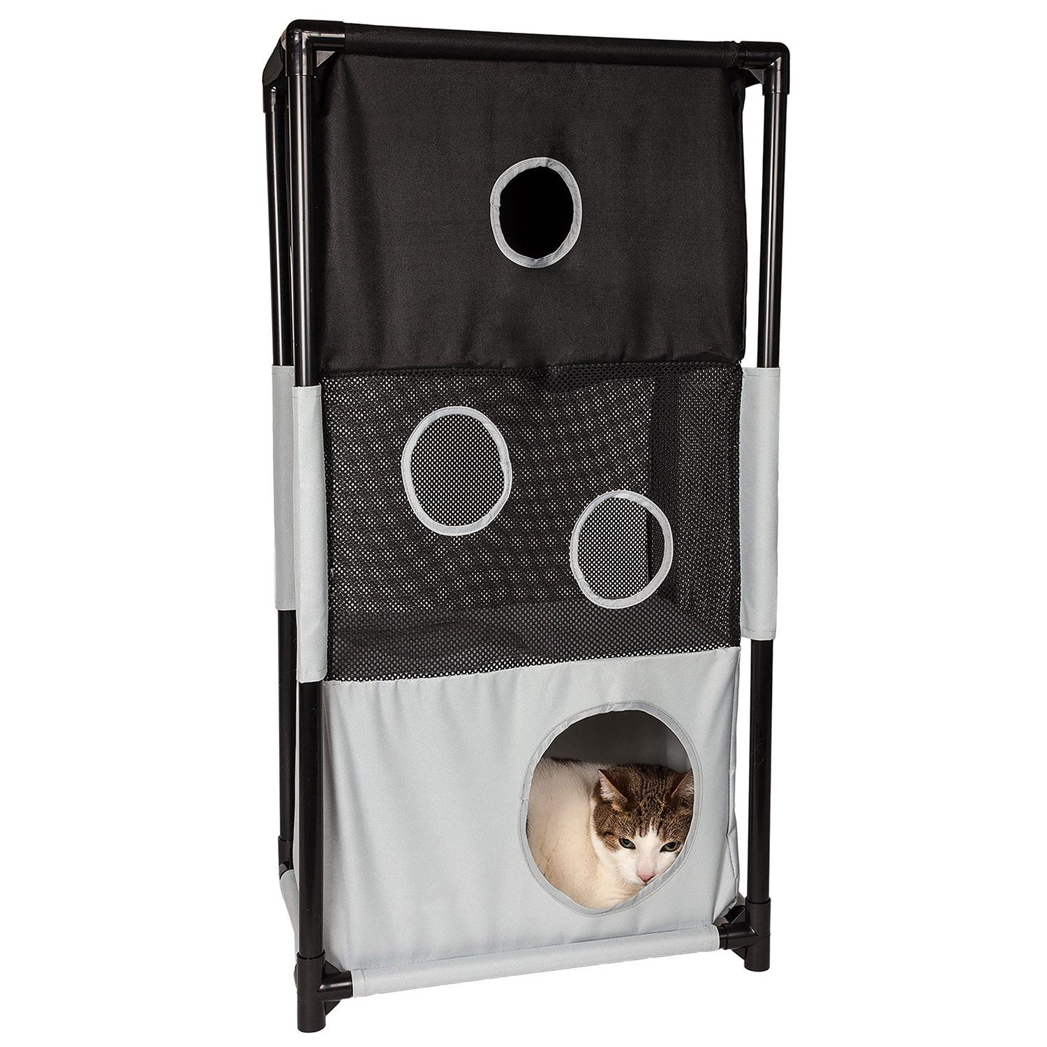 Pet Life 'Kitty-Square' Collapsible Cat Playhouse Lounger - Black and White