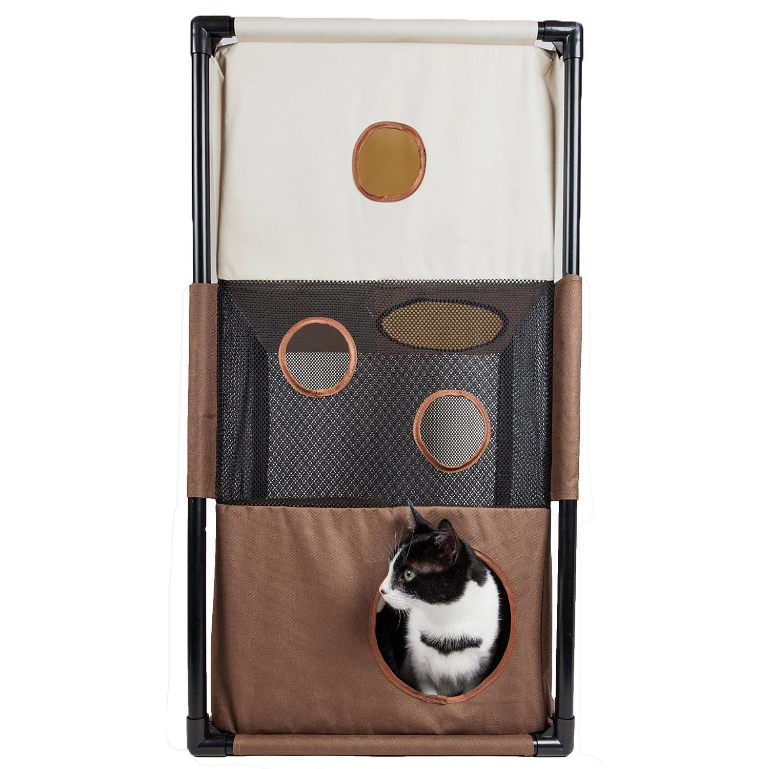 Pet Life 'Kitty-Square' Collapsible Cat Playhouse Lounger - Khaki and Brown