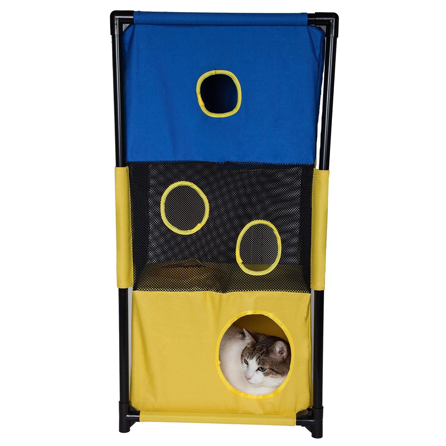 Pet Life 'Kitty-Square' Collapsible Cat Playhouse Lounger - Blue and Yellow