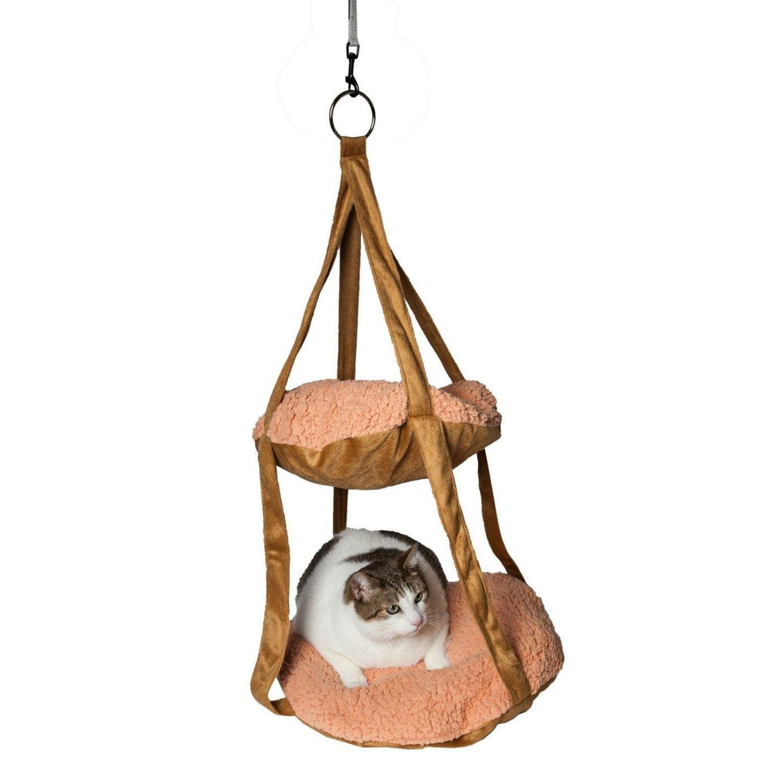 Pet Life Kittyhaus Dual-Lounger Kitty Cat Pillow Hammock Lounge - Brown