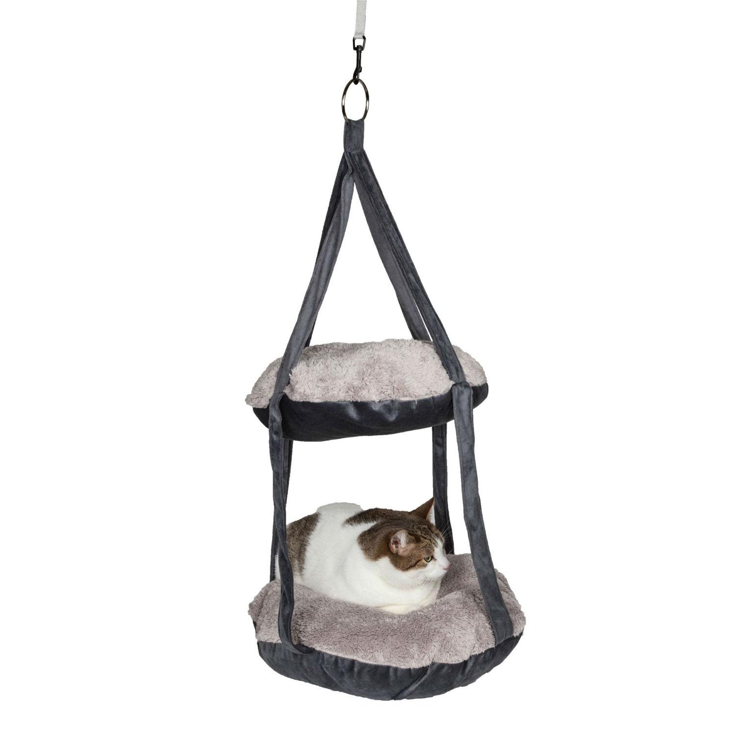 Pet Life Kittyhaus Dual-Lounger Kitty Cat Pillow Hammock Lounge - Gray