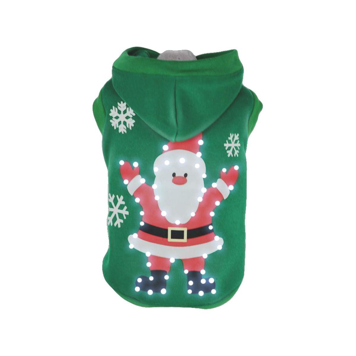 Pet Life LED Lighting Hands-Up-Santa Dog Hoodie - Green