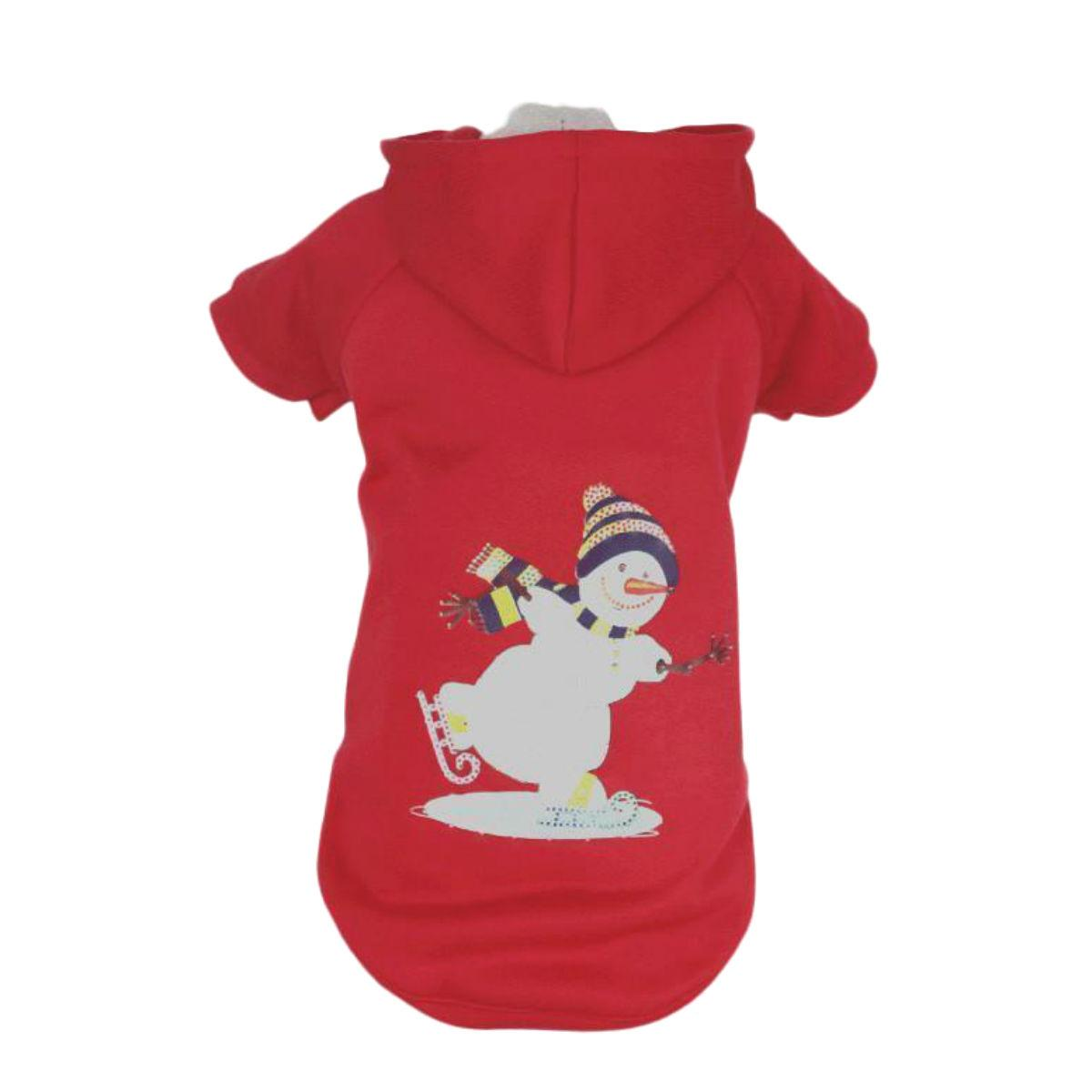Pet Life LED Lighting Holiday Snowman Dog Hoodie - Red