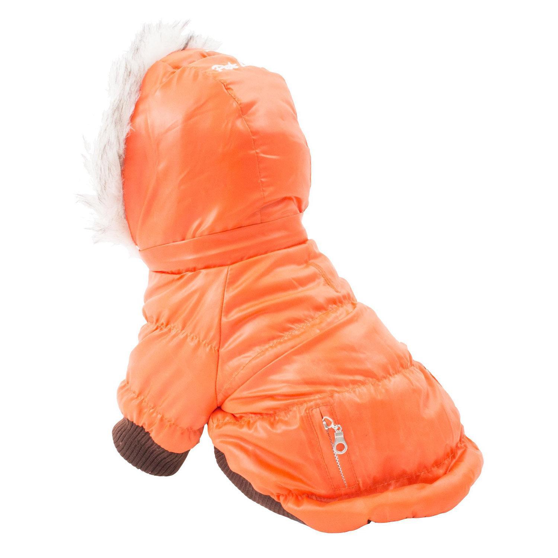 Pet Life Metallic Ski Parka Dog Coat - Orange