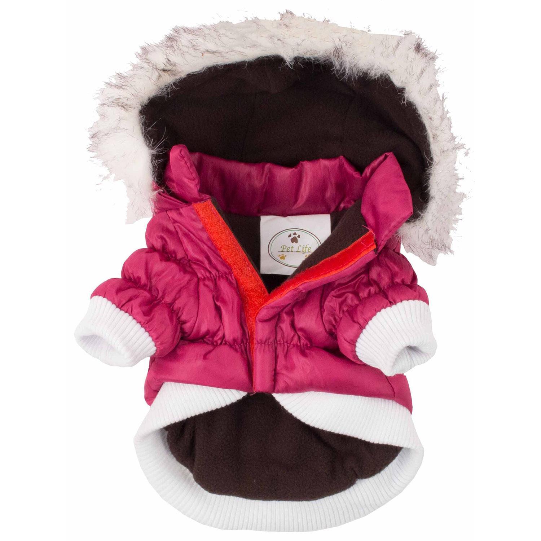 00255824c Pet Life Metallic Ski Parka Dog Coat - Pink