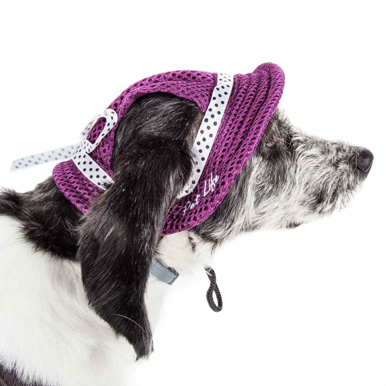 Pet Life 'Sea Spot Sun' UV Protectant Mesh Brimmed Dog Hat Cap - Burgundy