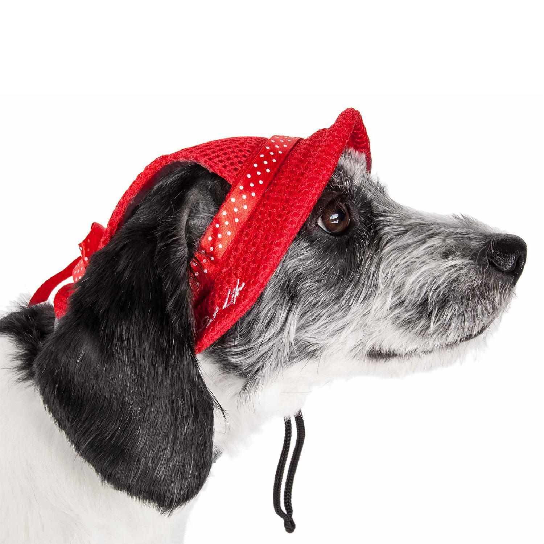 Pet Life 'Sea Spot Sun' UV Protectant Mesh Brimmed Dog Hat Cap - Red
