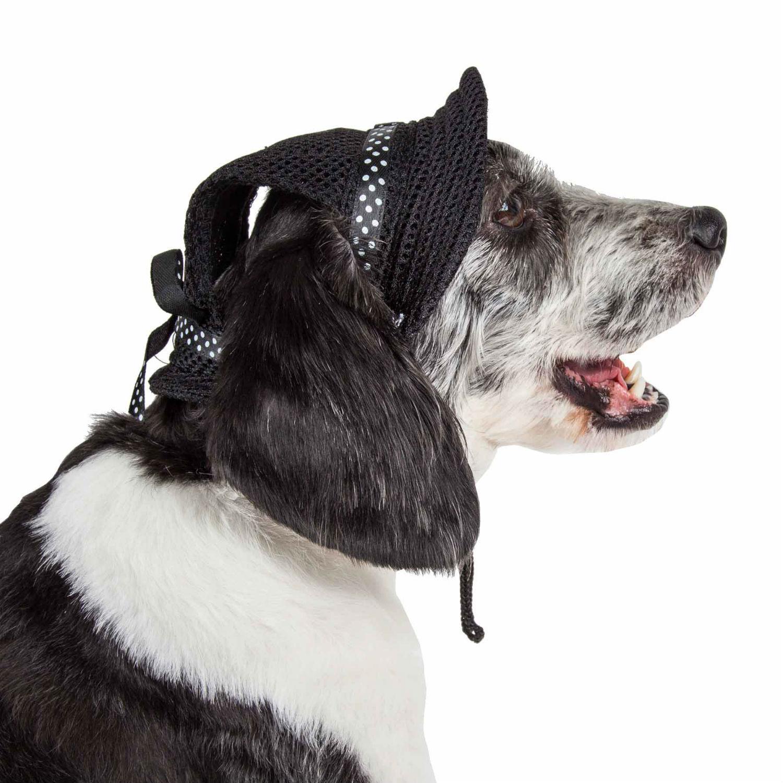 Pet Life 'Sea Spot Sun' UV Protectant Mesh Brimmed Dog Hat Cap - Black