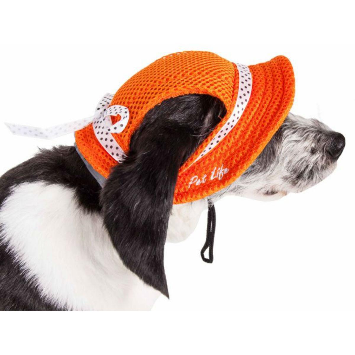 Pet Life 'Sea Spot Sun' UV Protectant Mesh Brimmed Dog Hat Cap - Orange
