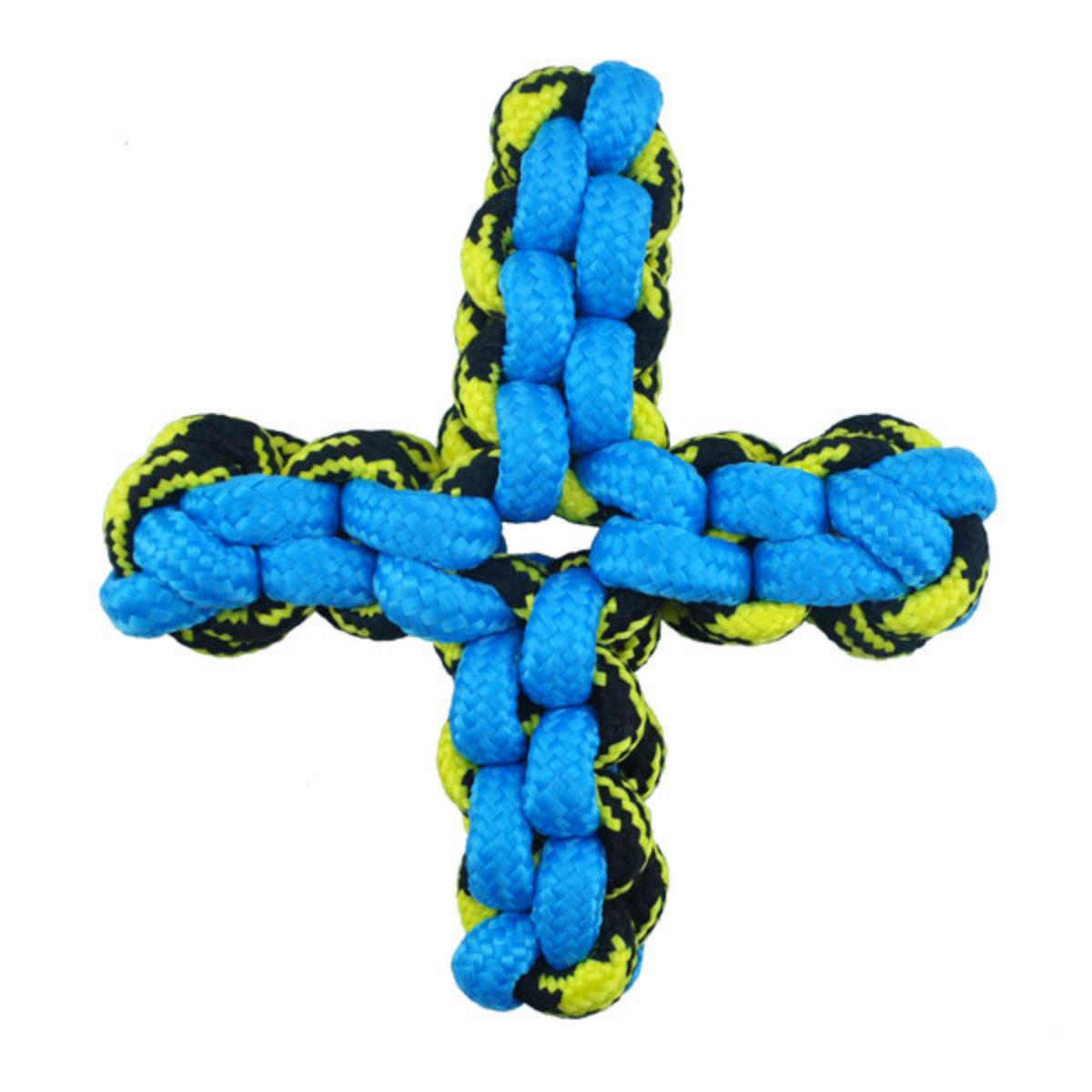 Pet Park Blvd Paracord Rope Twisted Quad X Dog Toy - Blue