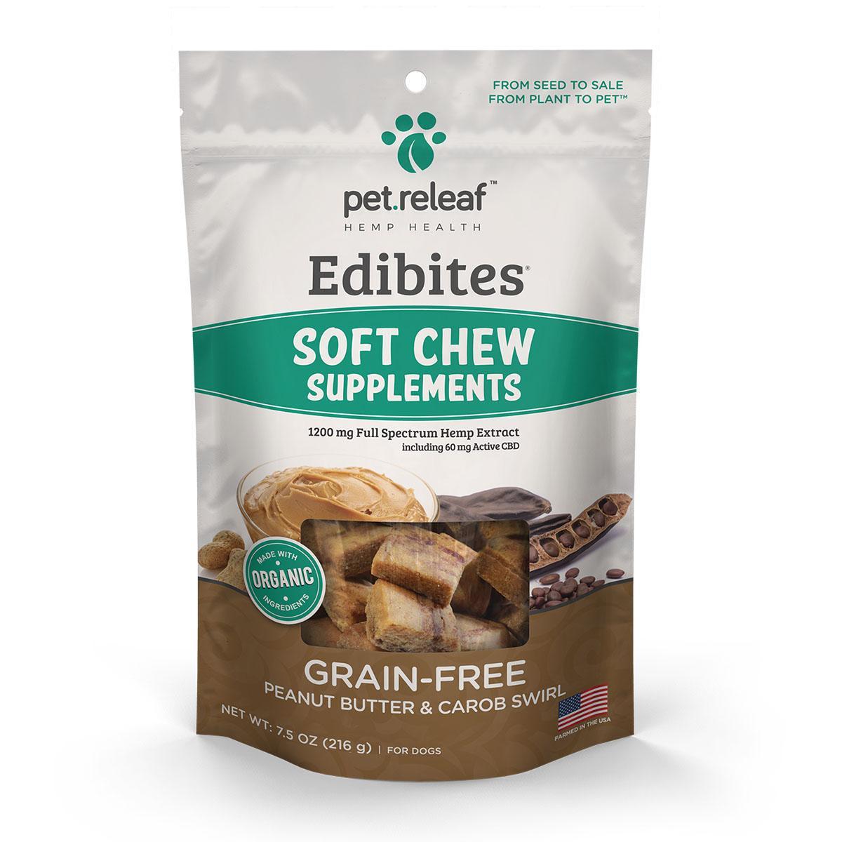 Pet Releaf Edibites Soft Chew Dog Treats - Peanut Butter and Carob Swirl
