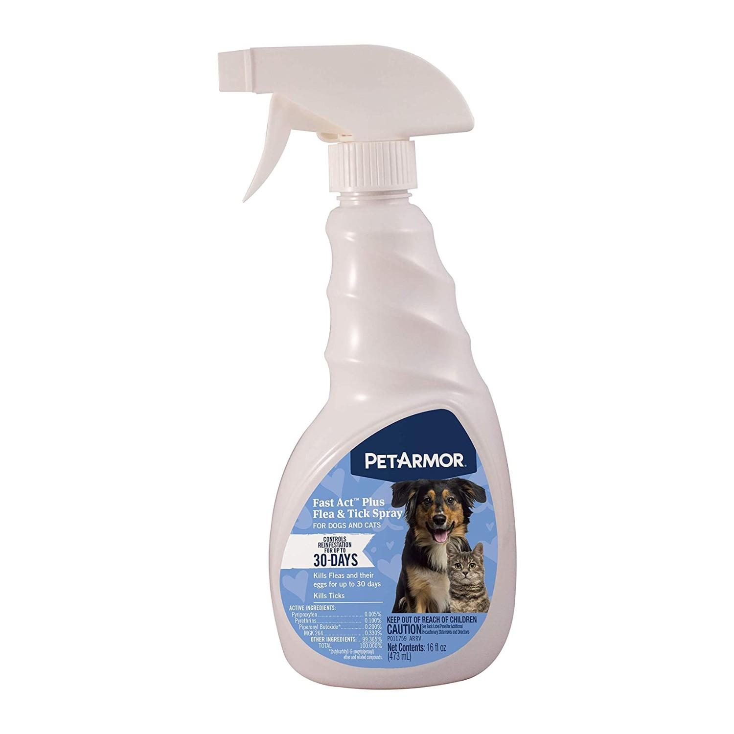 PetArmor Fastact Plus Flea & Tick Spray for Dogs & Cats