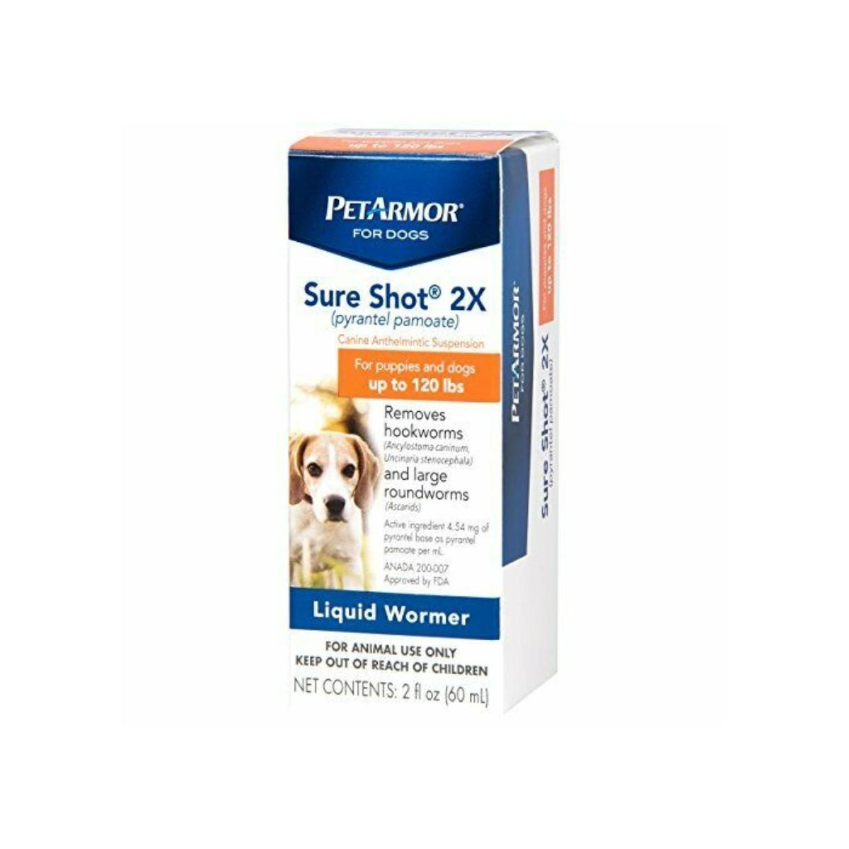 PetArmor Sure Shot 2X (pyrantel pamoate) De-wormer for Dogs