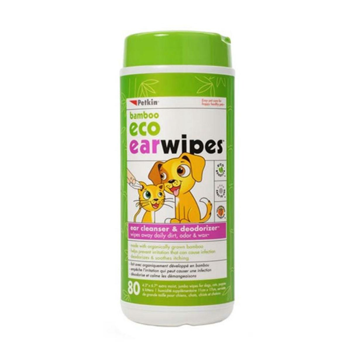 PetKin Bamboo Eco Earwipes for Dogs and Cats
