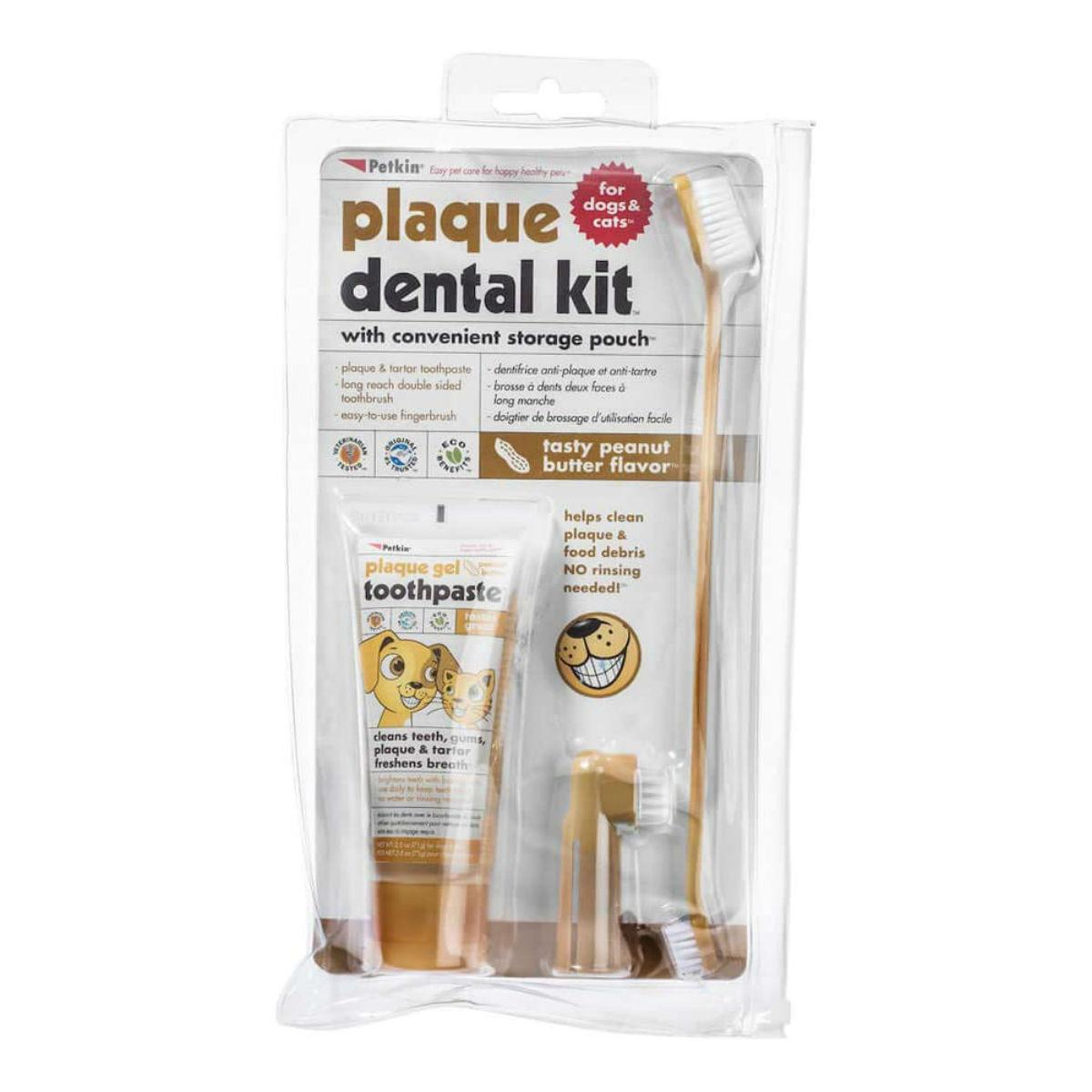 PetKin Plaque Dental Kit for Dogs - Peanut Butter