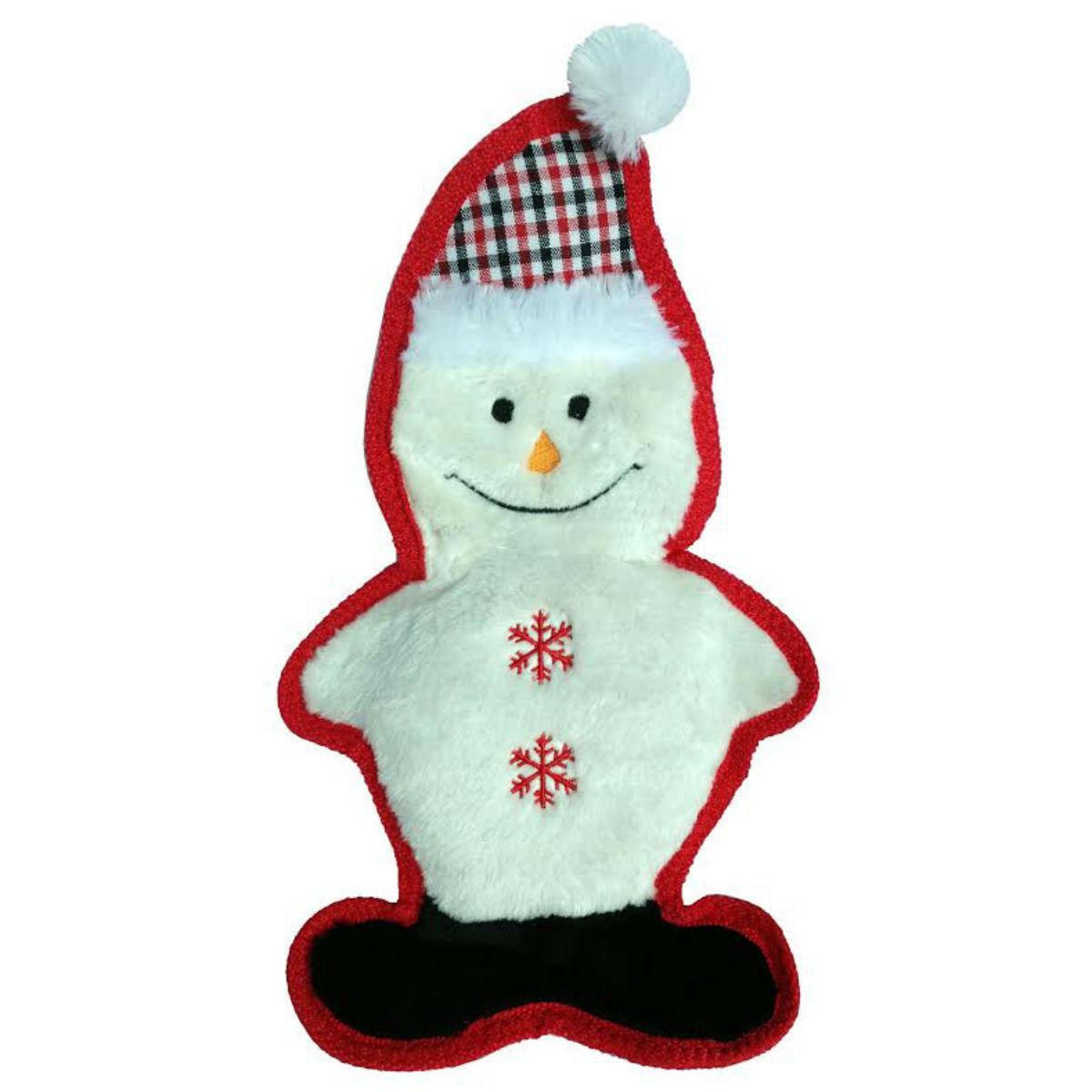 PetLou Christmas Bite Me Plaid Dog Toy - Snowman