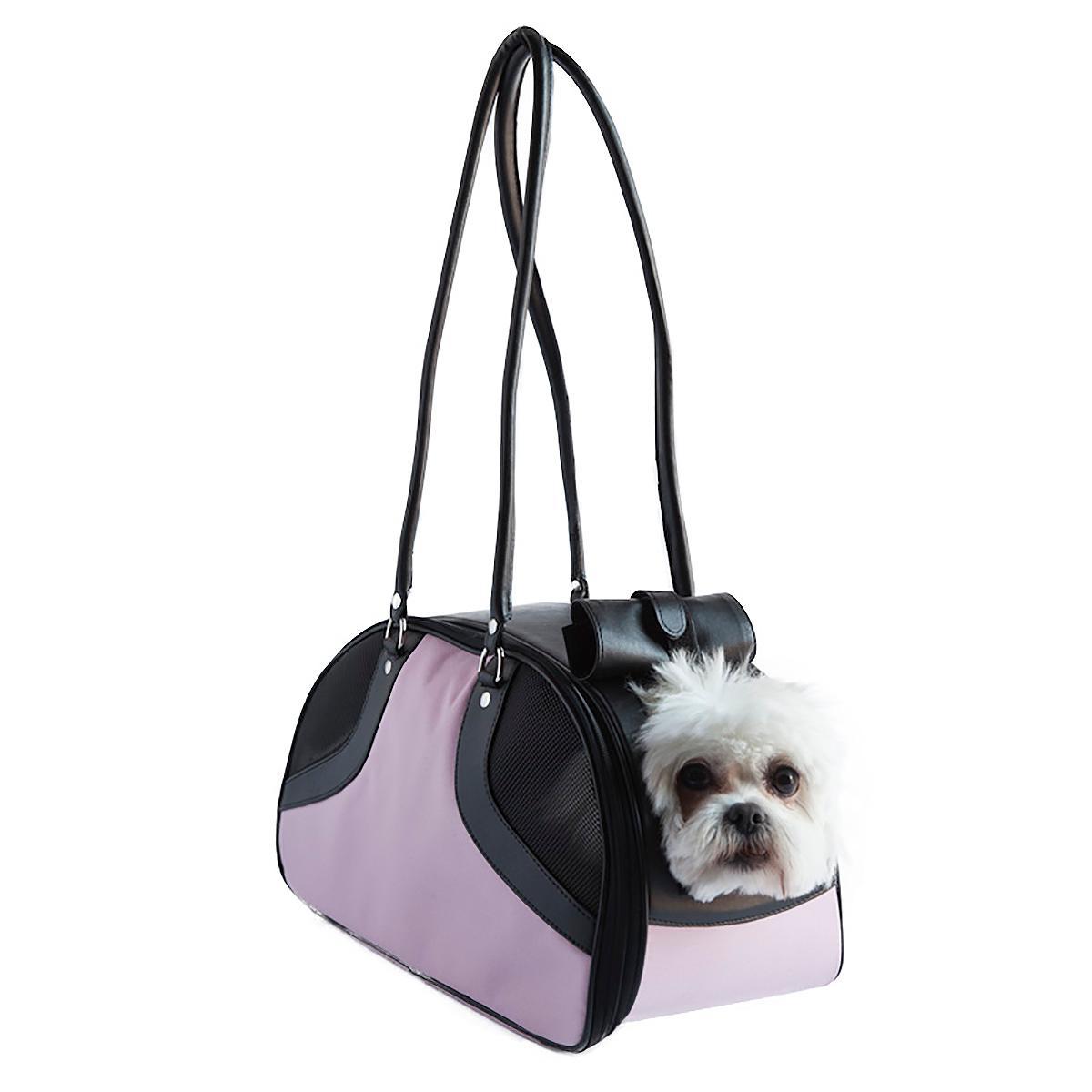 Petote Roxy Dog Carrier Handbag - Pink & Black