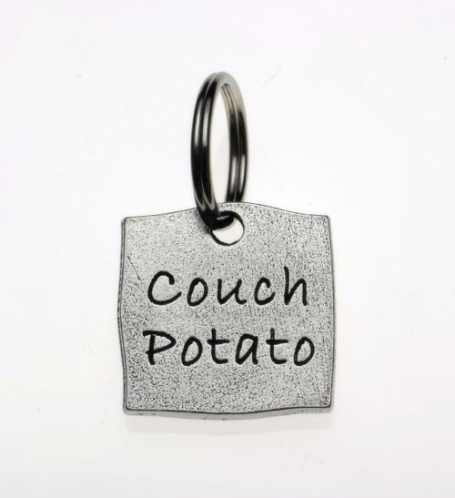 Pewter Dog Collar Charm or Cat Collar Charm: Couch Potato